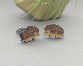 Hedgehog Earrings - Laser Engraved Wood - Titanium Stud Post Earring Pair