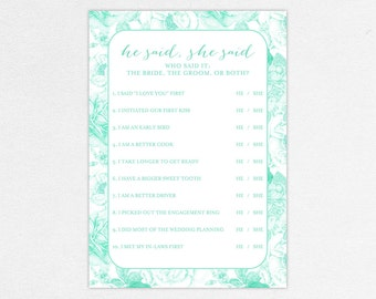 INSTANT DOWNLOAD He Said/She Said Card for Bridal Shower (Alicia) - DIY, Printable, Customizable Floral Design