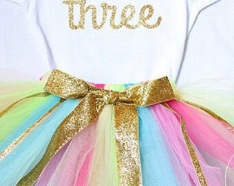 Sprinkles Birthday Tutu and Bodysuit or Shirt Sizes Newborn, 3-6 months, 6-12 months, 12-24 m 2T 3T 4T 5 6 7 8
