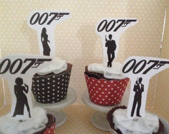 James bond, 007, Roger Moore Party Cupcake Topper Decorations - Set of 10