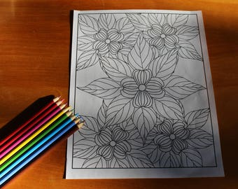 Dogwood Mandala Coloring Page Instant Download Adult Coloring Page Hand Drawn