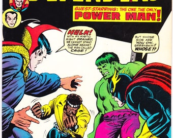 Defenders 17 comic, Luke Cage, Doctor Strange, the Incredible Hulk, Sub-Mariner book, Namor, 1st Wrecking Crew. 1974 Marvel Comics VF (8.0)
