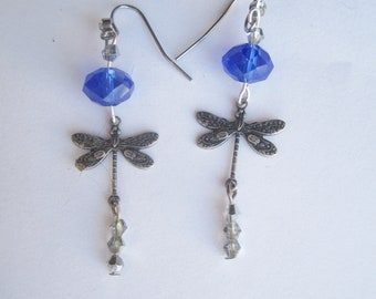 Dragonfly Dangles with Sparkling Crystals. Tiny Dragonfly Earrings. Sparkling Blue Bead and Antique Treated Dragonfly Dangle. Made in Sweden