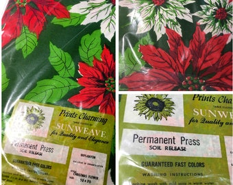 "Sunweave Elegant Christmas Xmas Holiday Vintage Tablecloth Poinsettia 52x70"" Rayon Permanent Press Flowers"