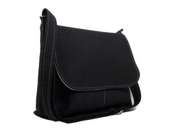 Solid Black Messenger Bag for Women, Medium Crossbody Purse, Fabric Cross Body Bag, Medium Black Purse, Everyday Bag, Adjustable Strap