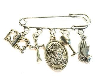 Holy Communion keepsake~First Holy Communion brooch~Religious Bookmark keepsake