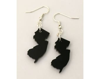 NJ Shape Earrings - State Shape Jewelry - State Earrings - Black Acrylic Plastic on Silver Plated Hooks