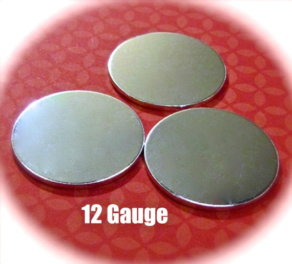 """60 Discs 1"""" 12 Gauge Polished Discs Round Blanks VERY Thick -  Pure Food Safe 1100 Aluminum - Very Clean Metal Stamping Blank"""