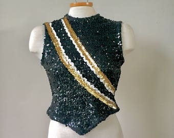 Vintage Majorette Marching band Baton Sequin top, vintage sequin fitted shirt, prom dress separates, glitter top, evening top, 70s, 60s