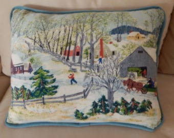 "Grandma Moses Barkcloth Pillow ""Early Springtime on the Farm"" Vintage Country Pillow Shaby Ch 22"" X 17"""