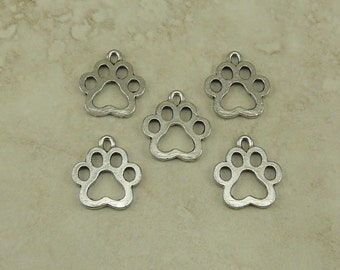 5 Dog Paw Charms > Foot Print Open Paw Pet Puppy Doggy - Raw Unfinished American Made Lead Free Silver Pewter I ship internationally