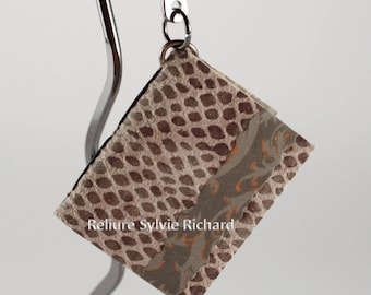 """Lovely bookmark in suede - Gray pig suede with reptile imitation """"Mini-Book"""" Bookmark - tiny soft cover – mini diary in suede"""