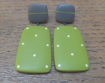 Large rectangle resin earrings - green with nude dots