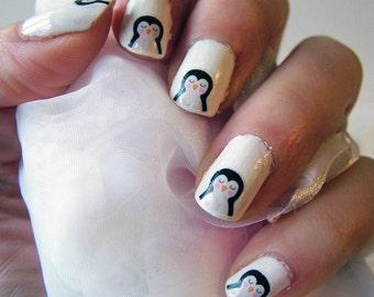 Penguin Nail Art Transfers - Penguin Nail Transfers - Nail Transfers - Penguin Transfers - Penguin Nail Art - Cute Transfers - Cute Penguins
