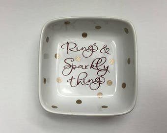 READY TO SHIP Rings & Sparkly Things Polka Dot Ring Dish / sparkly things ring dish / ring dish / jewelry dish / rings and things