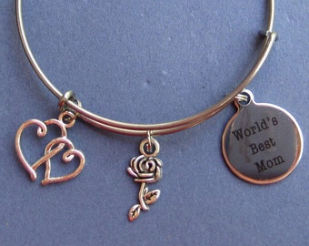 World's Best Mom Bangle - World's Best Mom Bracelet - Mom Jewelry - Gift for Mom - B140