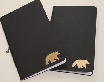 Grizzly Bear Pocket Notebooks: Set of Two Black and Gold Embossed Small Journals Cahier