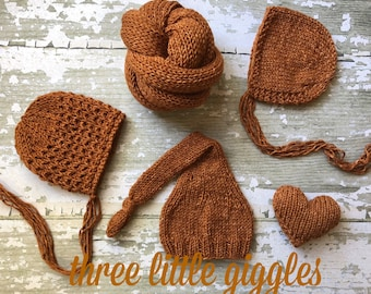 The {Pumpkin Spice} Collection ~ Hat - Wrap - Bonnet - Textured Bonnet - Giggles Heart Plushie