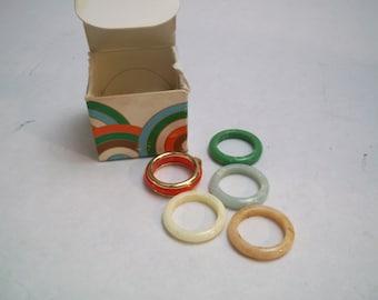 Vintage 1977 AVON Color Go Round Convertible Ring Set size Medium