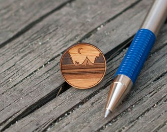 Wood Gifts for Dad Mountain Lapel Pins Wilderness Pin Camping Lapel Pin Gifts for Happy Campers Birthday Gifts Nature Lovers Nature Inspired