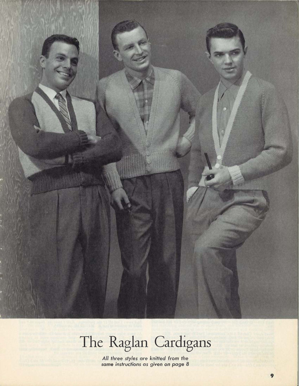 Raglan Boys • 1950s Cardigan Sweater Jacket Patterns • 50s Vintage ...