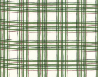 Christmas Fabric - Hearthside Holiday - Brushed Cotton - Plaid Weave 19835 13B Green - Priced by the half yard