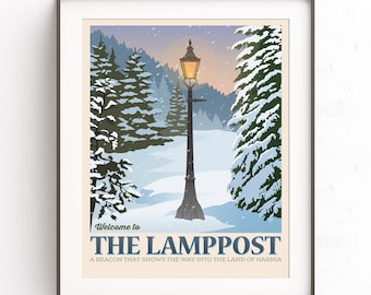 The Chronicles of Narnia. The Lamppost. Retro travel poster. Cs Lewis poster. Mr Tumnus. Lucy Pevensie. There are far. Far better things