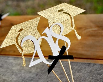 Graduation Centerpiece.  Handcrafted in 2-5 Business Days.  Wands for Graduation Party Decorations 3CT.