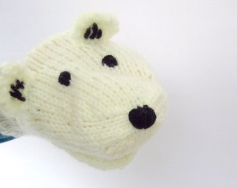 Polar Bear Hand Puppet Hand Knit White for Adult or Child Birthday Gift Present Toy Pretend Play