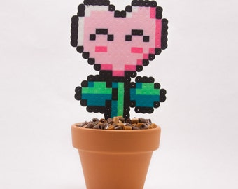 Heart Flower Perler Perler Bead Sprite with Clay Pot and Pixelated Dirt || Pottery, Geekery, Decoration, Gaming