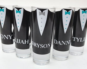 Set of 7 - Groomsmen Gift Ideas - Groomsmen Shot Glasses with Bow ties - Groomsman Shooter Gift - Shot Glasses For Him - Gifts For Him