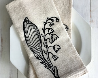 Flour Sack Napkin (Unbleached) - 1 Set (2 Napkins) - Lily of the Valley - Housewarming Gift - Hand Screen Printed