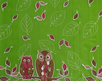 Oilcloth by the Yard - Owls on Green