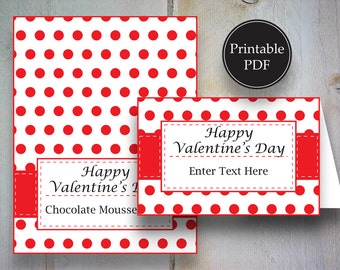 Valentine Red Polka Dot Tent Place Card~Valentine's Editable Place Card~Valentine's Day Printable Place Card~Buffet Table Card
