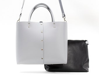 Gray Leather Tote - Leather Tote Bag - Leather Work Tote - Leather Tote And Pouch - Everyday Ba - Natural Leather bag - VISLeather - Totebag