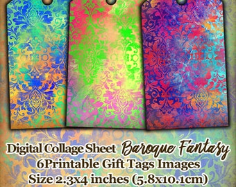 Gift tags printable, digital collage sheet, Baroque Fantasy, instant download, digital printable images, gift tags pdf