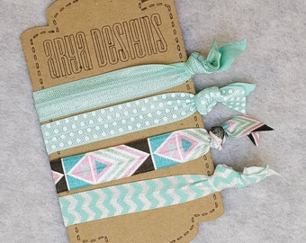 Creaseless Elastic Hair Ties, Hair Tie Bracelets, BridesMaid Gifts, Party Favors, Chevron, Aqua, Polka Dots, Tribal  Set of 4