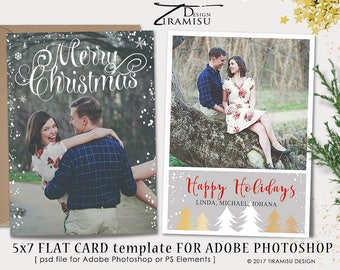 Christmas Card Template, 5x7in Holiday Card Adobe Photoshop psd Template, sku 15-17