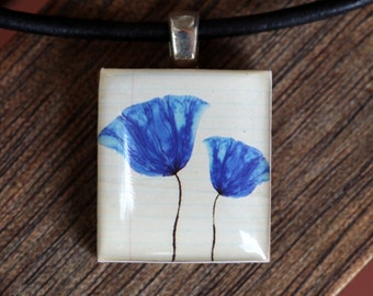 Blue Poppies Resin Scabble Tile Pendant Necklace