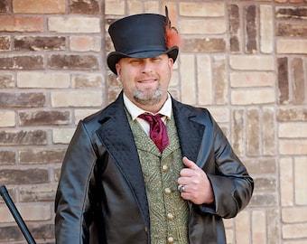 London Assassins Black Coat, Cosplay, Costumes, Victorian, Steampunk, Renaissance, Green Man, Pirate, Halloween, Christmas, Men's