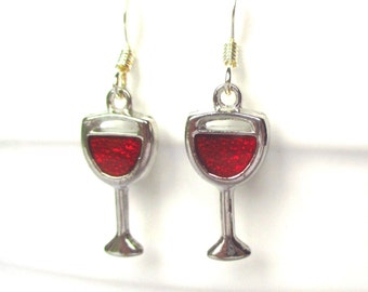 Red wine earrings - Wine glass earrings - Wine lovers gift - Drinking gift - Novelty earrings -  Wine gift - Secret Santa - Stocking stuffer