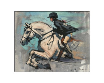 Horse Art - Matted Print of Original Oil Painting - Horses, Equine, Equestrian, Rider, Racing, Riders, Animal Lovers, Water, Dramatic Art