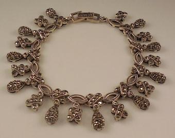 Vintage Sterling Silver Dangling Linked Marcasite XOXO Bracelet