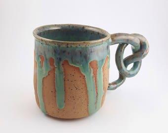 Stoneware Mug with Light Green Drip Glaze
