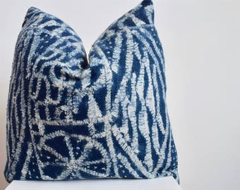 Authentic Vintage African Ndop Royal Display Cloth from Cameroon Pillow Cover, Indigo and White