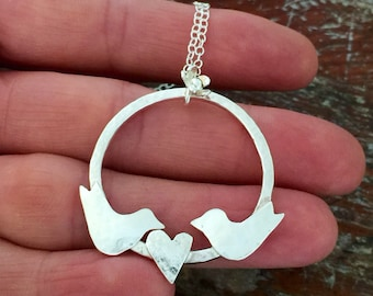 Silver bird Necklace - sterling silver lovebird pendant, bird lover gift, romantic gift for her, ready to post, gift for wife.