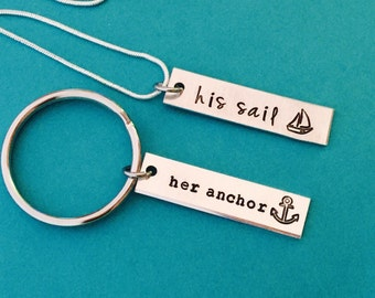 His and Her - His sail , Her anchor  couples hand stamped matching necklaces- couple set - anniversay wedding - set necklace and keychain