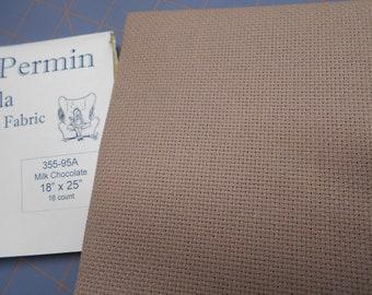 "Cross Stitch Fabric - ""Milk Chocolate"" - 16 ct. Aida (18 x 25 in.) Premium Cotton Fabric from Wichelt"
