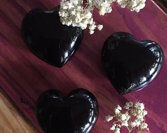 Black Obsidian, Crystal Heart, Puffy Heart, Obsidian Heart