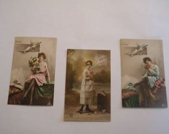 French Postcards 1920's - Set of 3